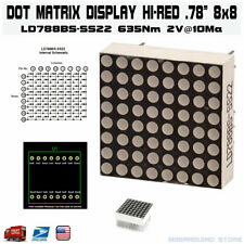 "8X8 LED Display Dot Matrix Hi-E Red 0.78"" 635Nm 2V@10Ma Cc/Ar 16-Pin"