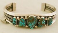 Navajo Verdy Jake  Red Mountain Turquoise/Sterling Silver Cuff Bracelet