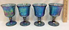 Indiana Blue Carnival Glass Goblets Pedestal Harvest Grape Iridescent Set Of 4