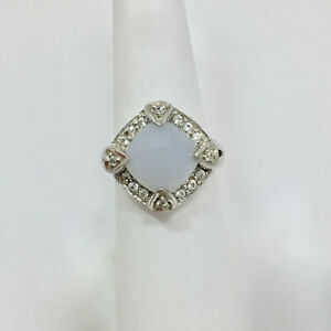 Large Cushion Cut Moonstone Faceted Halo Ring Size 7 Sterling Silver 925