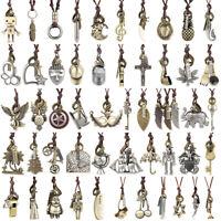 Vintage Men Leather Bronze Punk Necklace Pendant Choker Chain Charm Jewelry Gift
