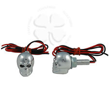 Skull LED License Plate Bolts Red Motorcycle Car Tag Accent Light Fastener