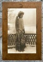 Charming... Early 1900's Woman w/ Snowshoes on Back ... Antique 5x7 Photo Print