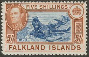 Falkland Islands 1938 KGVI 5sh Blue and Chestnut UM Mint SG161 cat £150 MNH