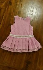 Ladybird babies pink velvet feel dress sz0 preowned excellent cond free post D5