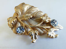 Crystal hair pin dress scarf clip Ivy leaf Floral flower design Gold tone