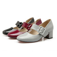 Women's Block Mid Heel Dress Pumps Round Toe Ankle Strap Mary Jane Shoes Party