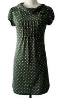 Silver Silk Paris Green Polka Dots Dress Short Sleeve Size S Cotton Blend