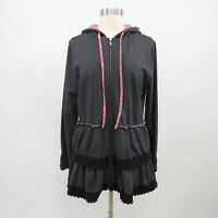 Matilda Jane Hoodie Sweater Jacket M Medium Ruffle Gray Wise and Wonderful