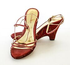 Enzo Angiolini Red/Gold Tapestry Wedge Ankle Strap Sandals Size 9.5M