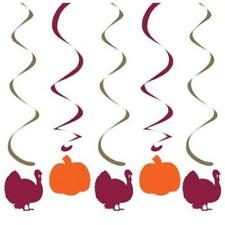 Turkeys and Pumpkins Hanging Danglers 5 Pack Thanksgiving Party Decorations