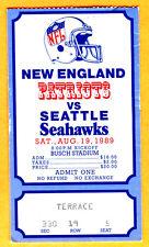 BEAUTIFUL GRAPHICS! 8/19/89 PATRIOTS/SEAHAWKS NFL FOOTBALL TICKET STUB