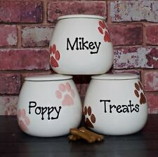Small Personalised Hand Painted Ceramic paw print Dog Puppy Cat kitten Treat jar