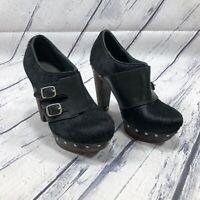 UGG Illana Leather Platform Heels Women Sz 6 Black Calf Hair Sherpa Lined jt5200