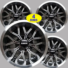 FOUR Golf Cart RIMs WHEELs 12x6 4/4 3+3 RHOX RX284 Gloss Black Machined Face