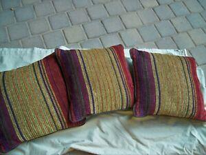 "3 Croscill Throw Pillows 17"" x 17"" Plateau Stripe Matches Comforter"