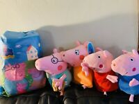 "New 4pcs Peppa Pig Family Doll Stuffed Plush Toy 12"" DADDY MOMMY 8"" Peppa George"