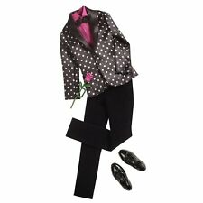 NEW 2012 KEN FASHIONISTAS POLKA DOT BLACK JACKET, PINK SHIRT TUXEDO  FASHION!!