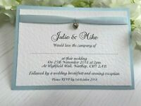 Wedding Invites - Baby Blue Ribbon & Silver Heart Charm - Daytime and/or Evening