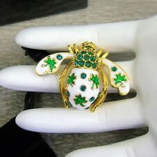 NEW Joan Rivers Lucky Clover BEE PIN BROOCH Gold Crystal Irish Celtic Shamrock