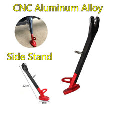Universal CNC Aluminum Motorcycle Leg Prop Kickstand Single Side Stand Black/Red
