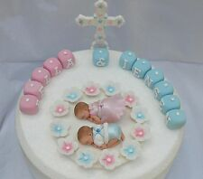 Edible twin baby girl & boy Christening  Baptism cake topper  +   edible cross