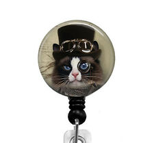 Steampunk Cat ID Badge Holder Retractable Badge Reel Nurse Badge RN Name Tag