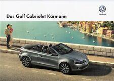 Prospekt / Brochure VW Golf Cabriolet Karmann 12/2013 mit Preisliste