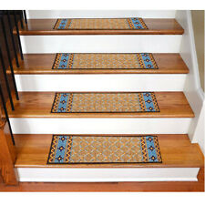 Non Slip Stair Rugs Carpet Stair Treads Pack Of 7 (Stripe Brown)