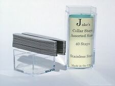 """40 Metal Collar Stays For Dress Shirts 2.5"""" Inch Medium Stainless Steel Jakes"""