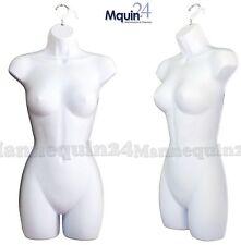 One Female Dress Mannequin Dress Form (Hard Plastic /White) & 1 Hanging Hook