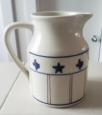 "Hartstone Pottery Stoneware Large Pitcher Texas Proud 7½"" Texas State Logo Euc"