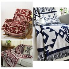 Reversible Geometric Aztec Navajo Cotton Rug Throw Blanket Tapestry Red Navy L