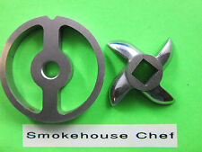 Size #5 Sausage stuffer plate and Knife for manual or electric meat grinder