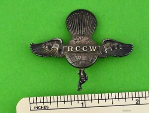Rare Rip Cord Club of the World - R C C W Pin - Pin Back Silver Wing - 1930's