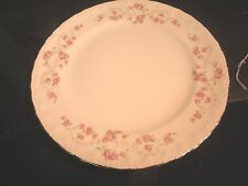 """Pope Gosser 10"""" Dinner Plate Pink Roses Gold Trim Unknown Pattern"""