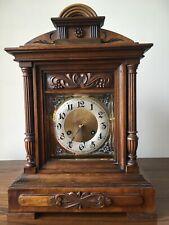 Antique Junghans Carved Oak Mantel Clock Westminster Chime Musical With Bracket