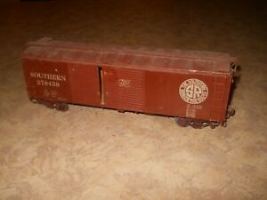 Early O Scale Metal & Wood Southern 40' Double Door Wooden  Boxcar
