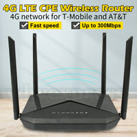 New 4G LTE WiFi Router Hotspot CAT4 SIM Card CPE USA Band T-Mobile AT&T 300Mbps
