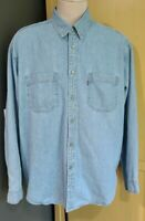 Vintage | Levi's | Blue Denim Red Tab Long Sleeve Button Down Shirt Men's XL