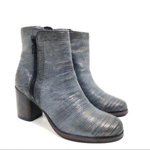 Frye Women Addie Double Zip Ankle Boot in Pewter Metallic Size 6 Women's