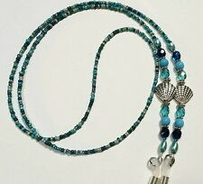 Ocean Blue Eyeglass Chain, Seashell Eye Glass Holder - Choice of length