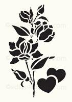 Love Stencil Heart Rose Vintage Template Card making Paint Home Decor Art FL124