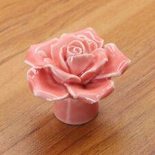 Vintage Knobs Drawer Cupboard Door Porcelain Pull Handle Ceramic Rose Flower