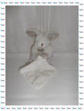 D - Doudou Peluche Lapin Blanc Beige avec Mouchoir Les Flocons Baby Nat