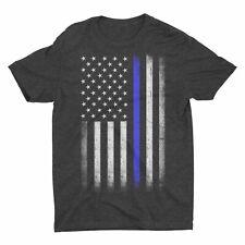 Mens Blue Lives Matter Tee Premium Soft Ringspun USA Flag Screen-Printed T-Shirt