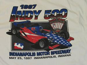 VINTAGE 1997 INDY 500 T-SHIRT! INDIANAPOLIS MOTOR SPEEDWAY! WHITE! COTTON! XL