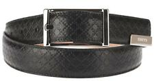 NEW GUCCI MEN'S BLACK DIAMOND PRINT LEATHER LOGO PLATE BELT 100/40