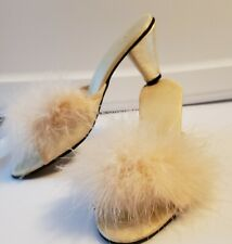 Vintage Bertlyn Marabou Feather Champagne 50's Heel Pin-up Size 6 - 6.5
