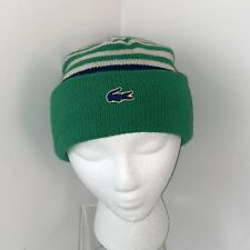 Vintage Lacoste Green & White Striped Alligator Logo Beanie Hat Made In U.S.A.